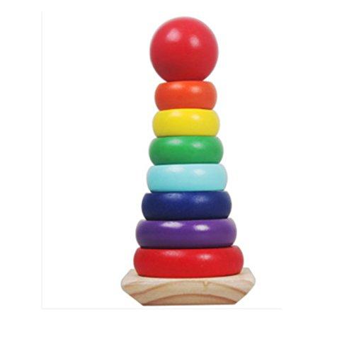 Holzfarben frühe pädagogische Überlagerte Rainbow Tower Block-Spielwaren