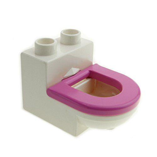 1 x Lego Duplo Möbel Toilette weiss dunkel pink rosa WC mit Deckel Sitz Badezimmer Bad Puppenhaus 4911c05 (Rosa Möbel)