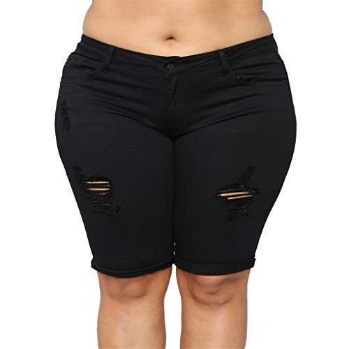 Frauit plus size oversize bermuda donna ginocchio shorts ragazza vita alta strappati pantaloni donne taglie forti elasticizzati pantaloncini ragazze jeans stretti pantaloncino vintage