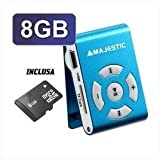 Majestic SDB 8309 - Lettore Mp3, Memoria 8G, aggancio a clip, Azzurro