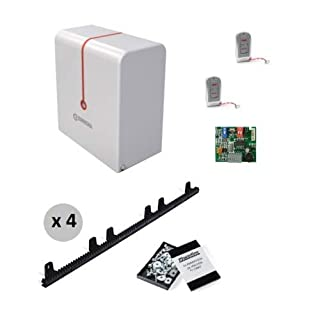 Complete Kit Professional Sliding Residential Door Motor ERREKA Dingo up to 400 kg Weight + 2 High Security Controls + 4 Metres Nylon Zip with Screws