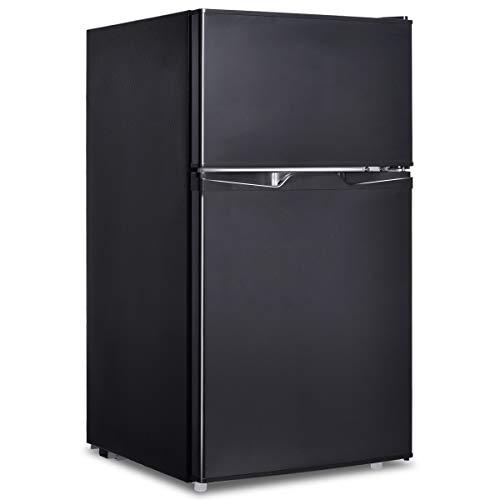 GOPLUS Kühlschrank mit Gefrierfach, 95L Standardkühlschrank, Kühl-Gefrier-Kombination Hotelkühlschrank, Höhenverstellbare Füße, Energieklasse A+