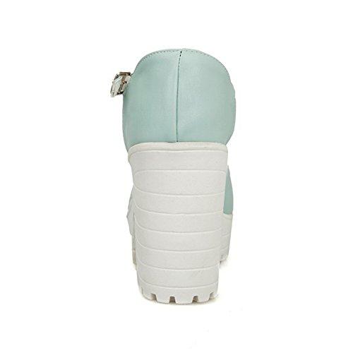 AllhqFashion Femme Couleur Unie Pu Cuir Boucle Ouverture Petite Sandales à Talons Hauts Bleu