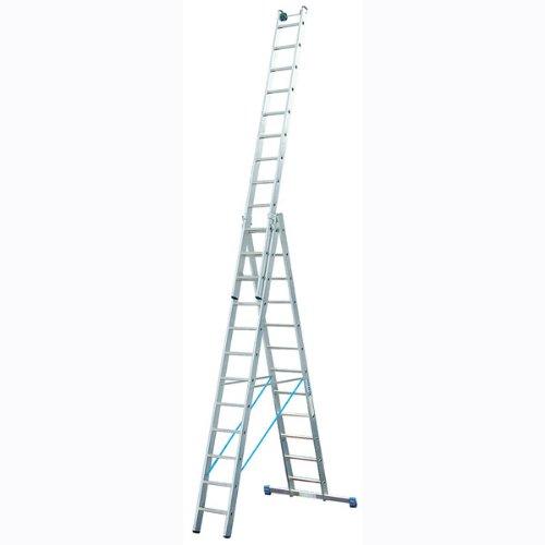 Vielzweck-Leiter, dreiteilig, Arbeitshöhe 9,55 m, Länge einteilig 3,55 m, dreit. 8,6 m, 15,8 kg