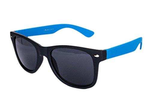 Nerdbrille Sonnenbrille Nerd Atzen Pilotenbrille Hellblau Türkis Schwarz Matt