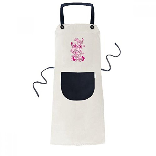 Root Flower Lotus (Lotus Leaf Lotus Flower Lotus Root Fish Water Cooking Kitchen Beige Adjustable Bib Apron Pocket Women Men Chef Gift)