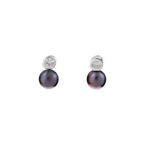 Orecchini Elegante Perle di cultura grigia e argento 925-idea regalo