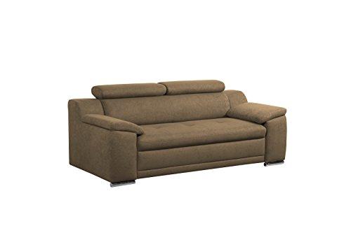 Cavadore 3-Sitzer Sofa Aniamo mit verstellbaren Kopfteilen / Modernes Design / Größe: 200 x 80 x 95 cm (BxHxT) / Farbe: Braun