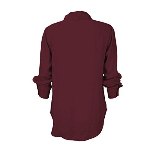 Femme Blouse, GreatestPAK T-shirt à manches longues en mousseline de soie à manches longues et à manches longues Vin rouge