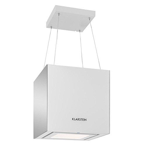 Klarstein Kronleuchter • Dunstabzugshaube • Inselabzugshaube • Deckenhaube • LED-Beleuchtung • 3 Leistungsstufen • 600 m³/h Abluftleistung • Stahlseile • 45 cm Kubus • Glas • Touchsteuerung • weiß