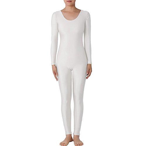 Muka Catsuit / Bodysuit, Rundhalsausschnitt, mit langen Ärmeln, Lycra, Zentai, Tanzkleidung Gr. L, weiß