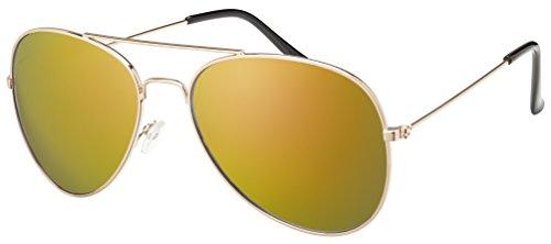 Original La Optica Unisex Piloten Sonnenbrille im Aviator Stil mit UV400 Schutz - Verschiedene Farben und Sets (Gold (Gläser: Rot verspiegelt)) (Sonnenbrille Spy Rot)