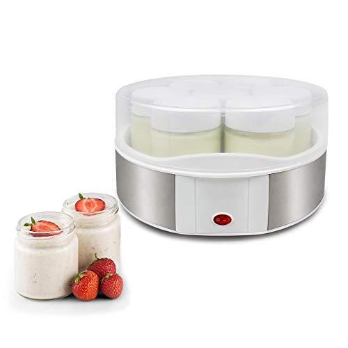 Todeco - Yaourtière, Machine pour Yahourt Naturel - Capacité par Pot: 0,21 L - Puissance électrique: 15 W - 7 Pots, 23 x 23 x 12 cm, Blanc