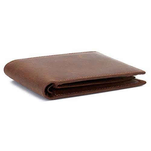 Cowboy-leder-geldbörsen (RFID BLOCKING Herren Geldbörse echtes Leder Cowboy Bifold Brieftasche Braun)