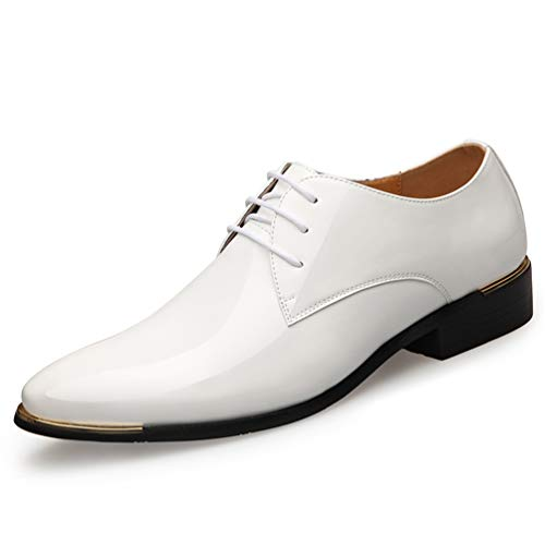Qianliuk Derby Schuhe für Männer Patent Leder Dress Schuhe Oxford White Formal Male Flats Drop Shipping White Suede Oxford