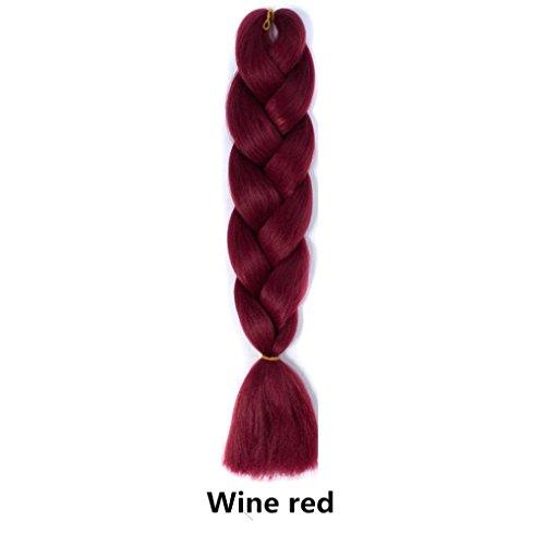 OHQ 24 Perruque Grande Tresse De Couleur Monochrome Multi Courte Bresilienne Blonde Afro BréSilien Brune Couleurs Pouces Big Braids Femme Naturelle Vrai Cheveux Naturel (Vin rouge)