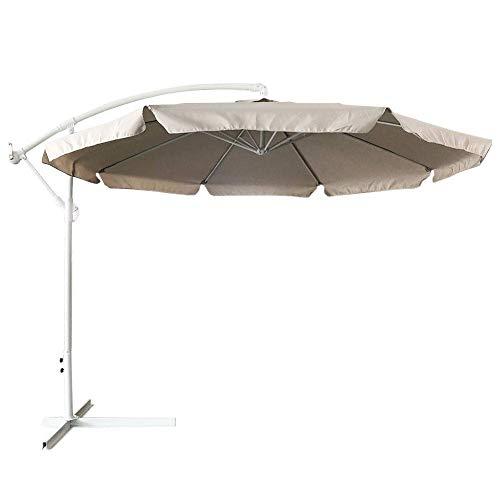 Photo Gallery bakaji ombrellone da giardino decentrato 3x3 palo alluminio telo con pendente chiusura a manovella base a croce sistema air vent arredamento esterno gazebo giardino terrazzo (tortora)