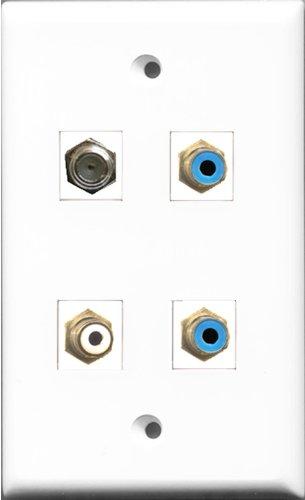 RiteAV 1 Port RCA weiß 2 Port RCA Blau und 1 Port Koax Kabel TV F-Type Wandplatte F-type Wall Plate