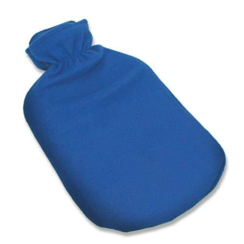 Wärmflasche mit Bezug 2L blau - Naturkautschuk Bettflasche mit Überzug - extra langanhaltende Wärme perfekt für kalte Abende