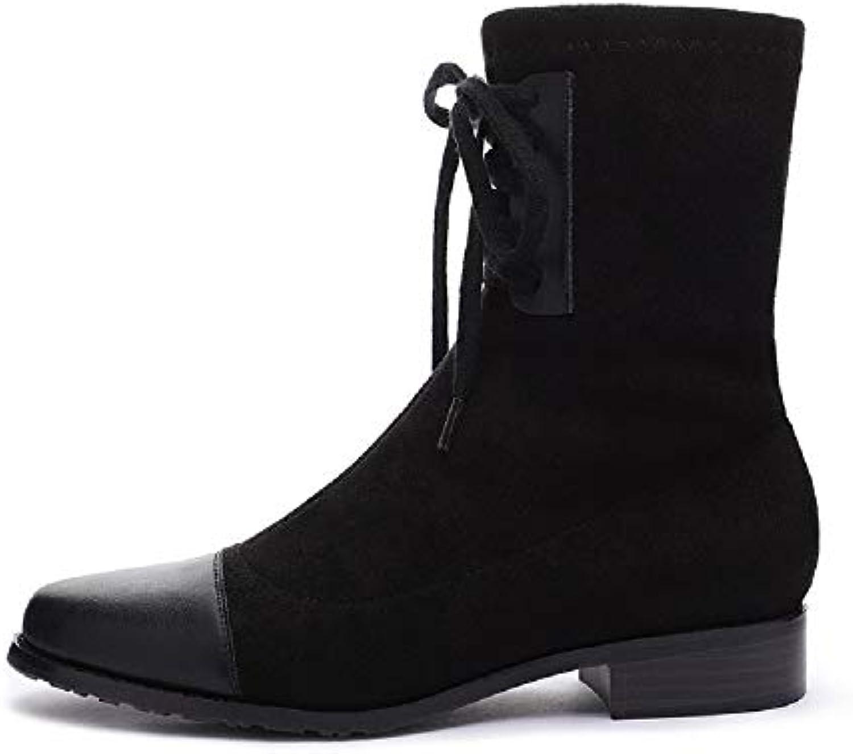 Fuxitoggo Bottines à Black la Mode pour Femmes Black à Lace up Ankle Shoes (coloré : Noir, Taille : EU 37) 0b50c5