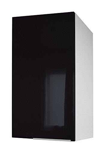 Berlenus CP4HN - Mueble Alto de Cocina (1 Puerta, 40 cm), Color Negro Brillante