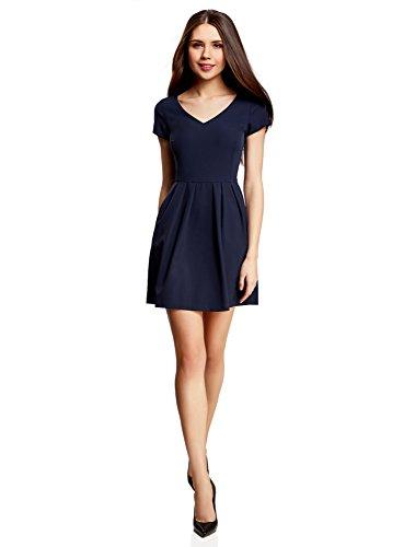 oodji-Ultra-Femme-Robe-en-Tissu-pais-avec-Col-en-V-et-Dos-Zipp-Bleu-FR-42-L