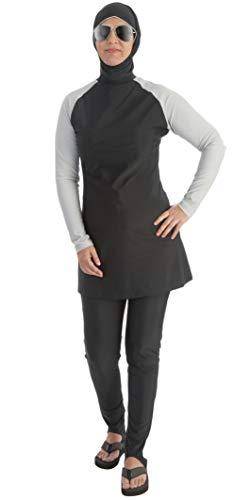 Beco Mujer Muslim BGE Bañador Traje Agua Deporte Superior con Pantalones Swimwear Burkini, Mujer, 5722, Plateado/Negro, XX-Large