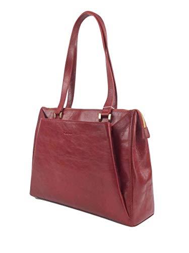 Giudi Handtasche Damen Echtleder Rot Henkel-Tasche Schultertasche Mit Reisverschluss Vielen Fächern Elegant Designer Jetsetter Luxus Trend Hochwertig Ökoleder Nachhaltig