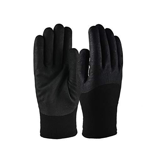 XMUEI Schutzhandschuhe mit Flüssigstickstoff   Nitrilbeschichtete Anti-Frost-Anti-Rutsch-und Öl-beständige kryogene Handschuhe Arbeitsversicherung (schwarz 22,5 cm) (Color : Black, Size : 22.5cm) -