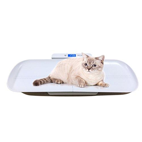 Escala de mascotas multifunción más grande para medir el peso de gato o perro con precisión. Una bandeja de 735 mm de largo, interior con una regla de 70 cm para medir la altura de la mascota. Puede medir mascotas más grandes en 100 kg. Capacidad con...