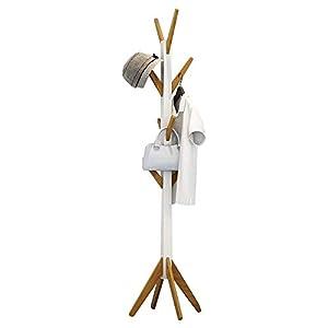 Style home Garderobenständer Kleiderständer Holz Garderobe acht Haken für Flur Diele Schlafzimmer Wartezimmer Weiß und…
