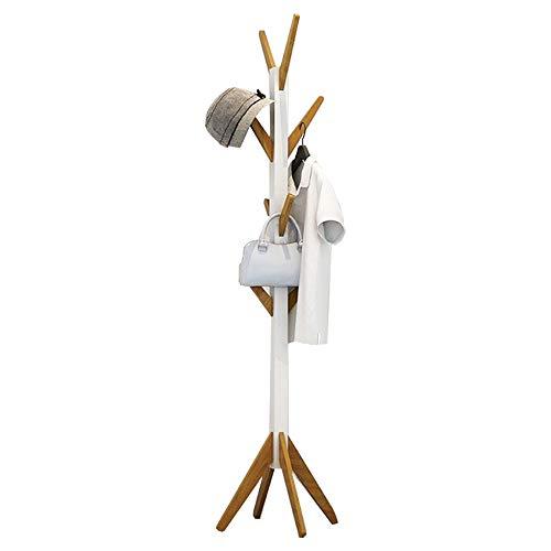 Style home Garderobe Garderobenständer Kleiderständer Flur Diele Schlafzimmer Wartezimmer Acht Haken Holz Weiß und Bambus, B42 x T42 x H178,5 cm