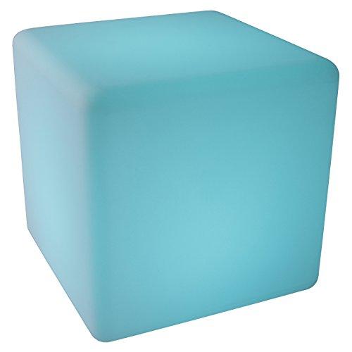 LED Siège Cube lumineux 30 cm multicolor RGB 16 couleurs sans câble avec accumulateur et télécommande Etanche et flottant IP65 Extérieur lampe mood cube decoration Luminaire Design