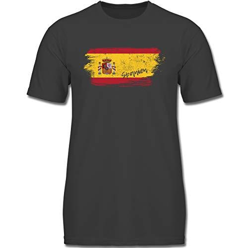 Fußball-Europameisterschaft 2020 Kinder - Spanien Vintage - 164 (14-15 Jahre) - Anthrazit - F130K - Jungen Kinder T-Shirt