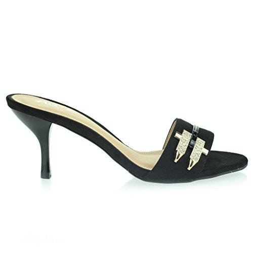 Femmes Dames Diamante Broche Cloutés Enfiler Mince Milieu Talon Soirée Fête Casual Sandales Chaussures Taille Noir