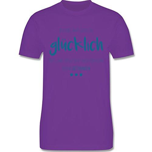 Sprüche - Glücklich und betrunken - Herren Premium T-Shirt Lila