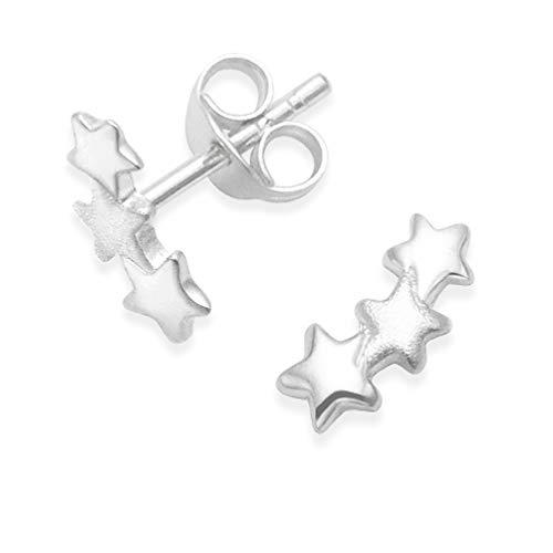 HEATHER Needham Ohrringe Stern Sterling Silber-Drei Sterne Ohrstecker, Teil satin finish-Größe: 10mm. In Geschenkverpackung 5231 -