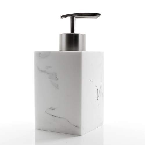 ROKKO - Dispensador de jabón de Resina con Efecto Mable para baño, Color Blanco