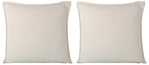 Cartoonpur 2 Piece Cotton Cushion Covers - 18 Inch x 18 Inch, Off-white