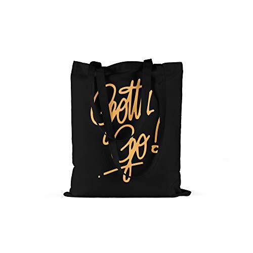 licaso Jutebeutel Bedruckt Gotta Go! Print in Schwarz Baumwolltasche mit Langen Henkeln Beutel Gold Bling Druck Ökologisch & Nachhaltig Tragetasche 100% Baumwolle -