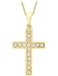Carissima Gold Women 9 ct (375) Yellow Gold Diamond Cut Textured 17 x 32.2 mm Cross Pendant on Curb Chain 46 cm/18 Inch