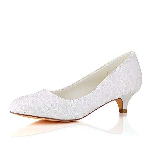 Emily Bridal Lace Mutter Schuhe Round Toe Hochzeitsschuhe Elfenbein Brautschuhe (EU37, Elfenbein) Lace Round Toe Pumps