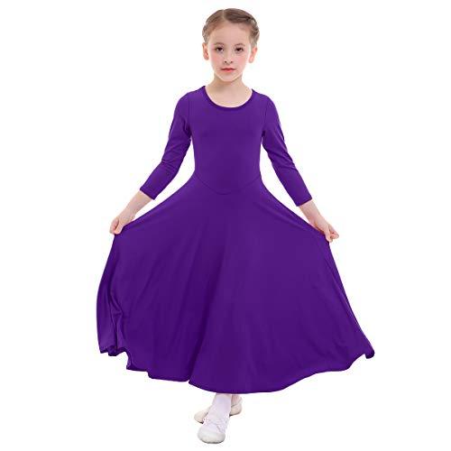 IWEMEK Mädchen Liturgisches Lob Kleid Kinder Tanzkleid mit Langarm Ballettkleid Partykleid Gebet Kleid Falten Maxikleid Party Anbetung Kostüme Violett 3-4 ()