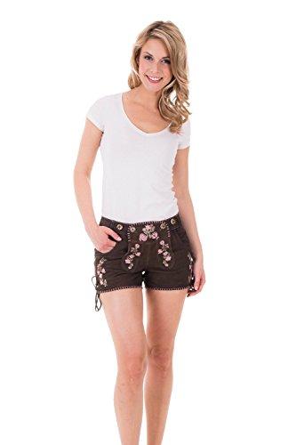 Krüger - Damen Lederhose in der Farbe Braun, Pink Bloom (Artikelnummer: 32362-733), Größe:38, Farbe:Braun