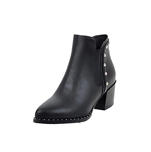 VogueZone009 Damen Hoher Absatz Eingelegt Rund Zehe Reißverschluss Stiefel mit Metallisch, Schwarz, 39