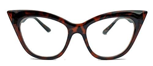 50er 60er Jahre Damen Retro Brillengestell Cat Eye Nerdbrille Klarglas CN61 (Braun)