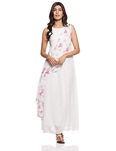 Rheson by Sonam & Rhea Kapoor Women's Saree Dress (AW17RHSHLPLDRWT_White_Small)