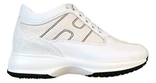 Hogan Scarpe Sneaker Donna Interactive Pelle e Glitter HXW00N00E10KFHB001 Bianco (35.5 EU - 2.5 UK)