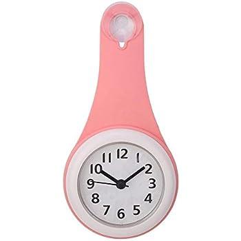Horloge de Salle de Bains /à la Mode /étanche Suspendu fiable Durable Ventouse Porte-Serviettes Main Courante Mur d/écoratif en Plastique Miroir Horloge Montres Rouge