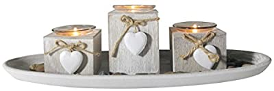 khevga Shabby Chic Grey Provence Heart Tealight Holder set of 3 from khevga